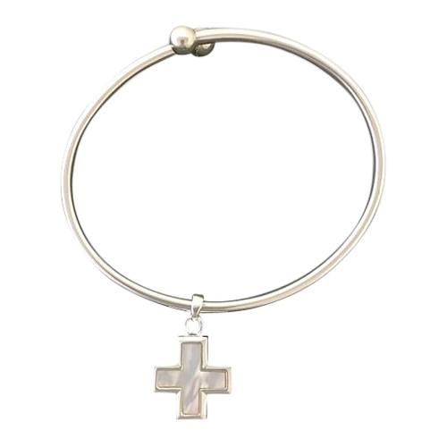 Pearl Cross Ash Cremation Bracelet