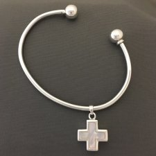 Pearl Cross Cremation Bangle