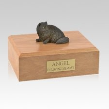 Persian Black Laying Medium Cat Cremation Urn