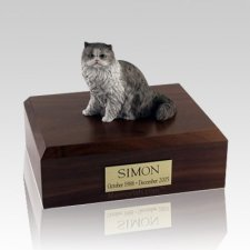 Persian Grey and White Large Cat Cremation Urn