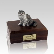 Persian Grey and White Medium Cat Cremation Urn