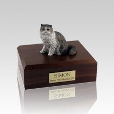 Persian Grey and White Small Cat Cremation Urn