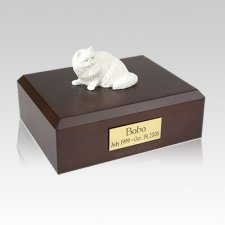 Persian White Laying Large Cat Cremation Urn