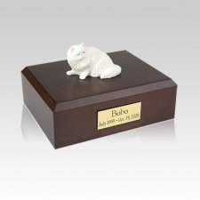 Persian White Laying Medium Cat Cremation Urn