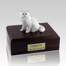 Persian White Sitting Large Cat Cremation Urn