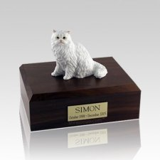 Persian White Sitting Medium Cat Cremation Urn