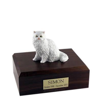 Persian White Sitting Medium Cat Cremation Urn