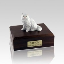 Persian White Sitting Small Cat Cremation Urn