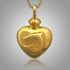 Pet Dolphin Heart Cremation Pendant II