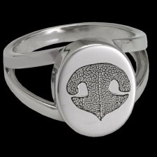 Pet Nose 14k White Gold Cremation Print Ring