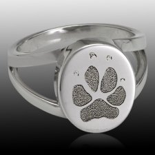 Pet Paw 14k White Gold Print Cremation Ring