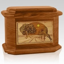Pheasant Mahogany Octagon Cremation Urn