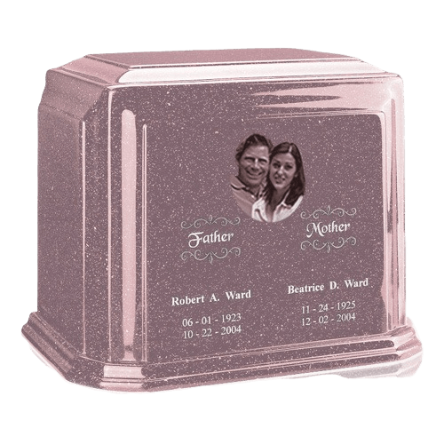 Picture Rose Marble Urn For Two