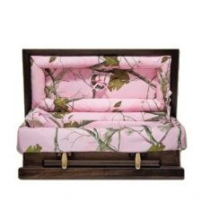 Pink Camo Wood Small Child Casket