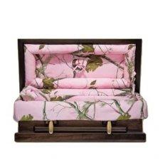 Pink Camo Wood Large Child Casket