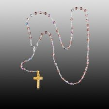 Pink Crystal Gold Cremation Rosary