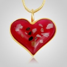 Pink Heart Cremation Ash Pendant IV