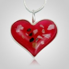 Pink Heart Cremation Ash Pendant