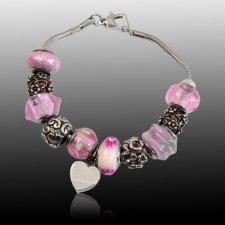 Pink Heart Cremation Bracelet