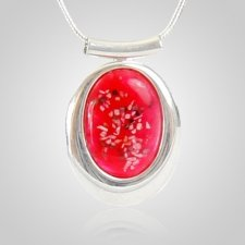 Pink Oval Cremation Ash Pendant
