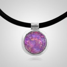 Pink Dichroic Silver Opal Cremation Ash Pendant