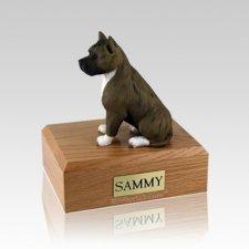 Pit Bull Brindle & White Large Dog Urn
