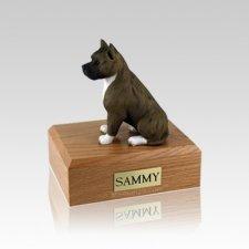 Pit Bull Brindle & White Small Dog Urn