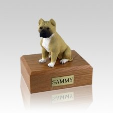 Pit Bull Tan & White Small Dog Urn