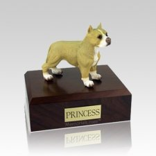 Pit Bull Tan & White Standing Medium Dog Urn
