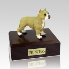 Pit Bull Tan & White Standing X Large Dog Urn