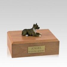 Pit Bull Terrier Brindle Laying Medium Dog Urn