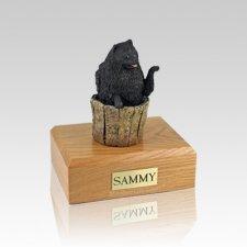 Pomeranian Black Playing Small Dog Urn