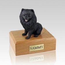 Pomeranian Black Sitting Large Dog Urn