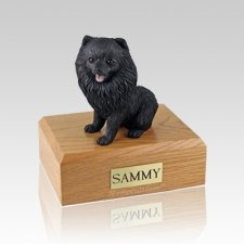 Pomeranian Black Sitting Medium Dog Urn