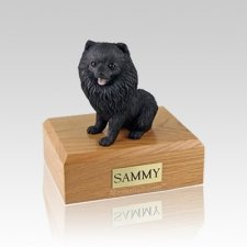 Pomeranian Black Sitting Small Dog Urn