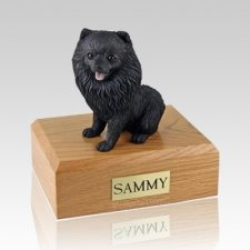Pomeranian Black Sitting Dog Urns