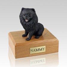 Pomeranian Black Sitting X Large Dog Urn