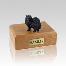 Pomeranian Black Standing Medium Dog Urn