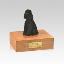 Poodle Black Resting Small Dog Urn