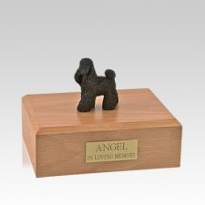 Poodle Black Standing Medium Dog Urn
