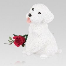 White Poodle Cremation Urn