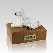 Poodle White Laying Large Dog Urn
