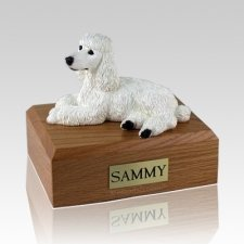 Poodle White Laying Dog Urns