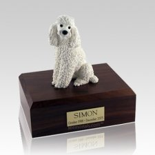 Poodle White Sitting Large Dog Urn