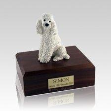 Poodle White Sitting Medium Dog Urn