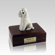 Poodle White Sitting Small Dog Urn