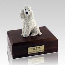 Poodle White Sitting X Large Dog Urn