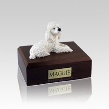 Poodle White Small Dog Urn