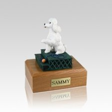 Poodle White Sport Cut Sitting Small Dog Urn