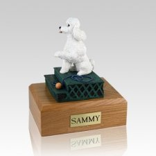 Poodle White Sport Cut Sitting Dog Urns